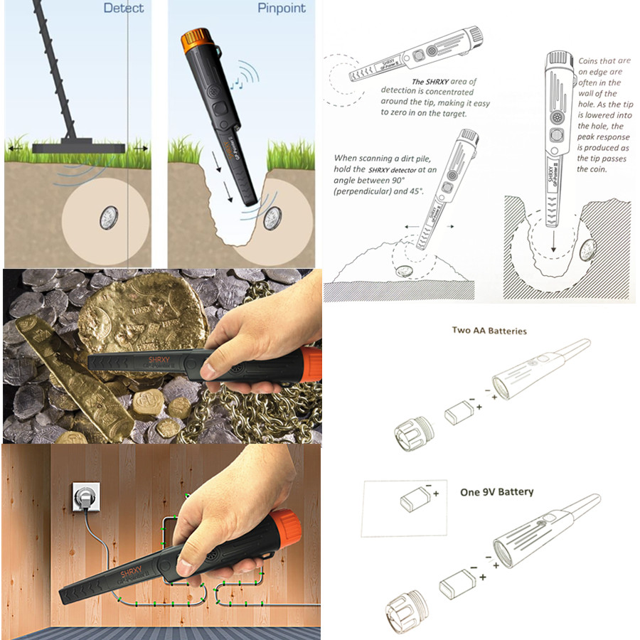 SHRXY Upgraded Pro Pinpointing Hand Held Metal Detector TRX GP-pointer2 Waterproof Pointer Metal Detector for Gold Coin