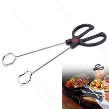 Stainless Steel BBQ Barbecue Grilling Tongs 12 Inch Outdoor Portable Charcoal Scissor Tongs Kitchen Serving Tongs(China)