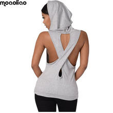 moaoliao  V collar Sport Yoga  Women  sleeveless Sport Hoodies Lady Dance Running shirts Exercise Yoga Vest Fitness Crop Tops