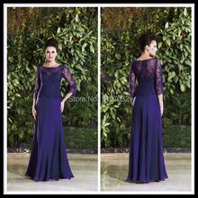 Elegant Mother of The Bride Lace Dresses Royal Blue Half Sleeve Chiffon Long Wedding Party Gowns Floo Length Dress Godmother