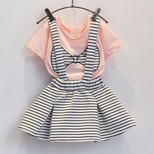 Pink and White Bow Print T-Shirts and Kids Striped Overalls Dress Baby Girls Princess Summer Clothing Children Clothes 5sets/LOT