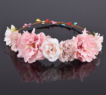 CXADDITIONS Rose Carnation Peony Flower Crown Bridal Floral Headband Wreath Wedding HairBands Hair Accessories Women Bridesmaid(China)