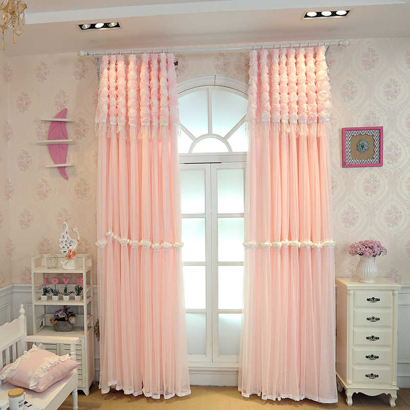 Senisaihon Pink Lace Embroidered Blackout Curtains Korean Luxurious Polyester Princess Bedroom Tulle Curtains for Living Room