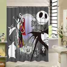 Waterproof 3D Halloween Shower Curtain Nightmare Before Christmas Ghost Skeleton Castle Style Bath Curtains Bathroom Accessories(China)