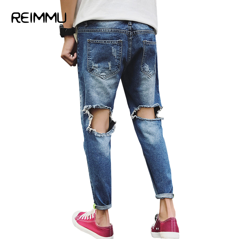 Reimmu Ripped Jeans Male Trousers New Fashion Male Clothes Black Jeans Famous Brand Clothing Big Size Casual Pants Male Jeans