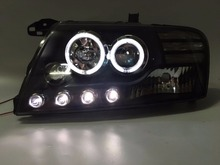 Fett Lights For Mitsubishi Pajero Montero V73 V75 V76 V77 V78 LED Angel Eyes Head Light 2000-2008 year Black Housing