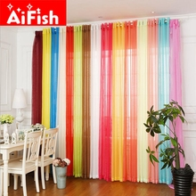 Rainbow Colors Solid Sheer Panels Door Window Curtains Drapes Voile Curtain For Home Decor Living Room Bedroom Kitchen AP184-20(China)