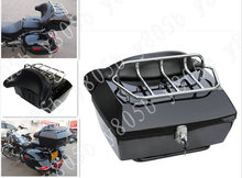 Motorcycle Trunk Tail Box Luggage With Top Rack Backrest For Harley Davidson Sportster XL883 Dyna Wide Glide Bobber Road Kings