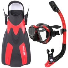 Whale Water Sports Diving Equipment Scuba Diving Mask snorkel fins set diving flippers MK2600+SK400A+FN200