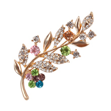 Elegant and Trendy Color Crystal Rhinestones Fashion Leaf Brooch Pins for Women in Assorted Designs