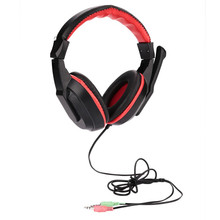 Stereo Headset Wired Gaming Headset headphone for  Computer Games Skype Laptop Earphones With Microphone Black&Red