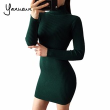 Buy Yanueun Fashion 2017 Women Autumn Winter Sweater Dresses Slim Turtleneck Bodycon Solid Color Knitted Warm Mini Dress Women for $15.70 in AliExpress store
