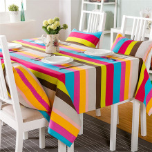 American Style Cloth Woven Home Hot Sale New Arrival Mantel Toalhas De Mesa Multicolor Striped Thick Canvas Tablecloth