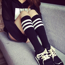 Harajuku Sock Womens Sexy Stockings Korea Knee High Socks Three Bar Stripe Middle Tube Student Solar Thigh High Female Socks A0