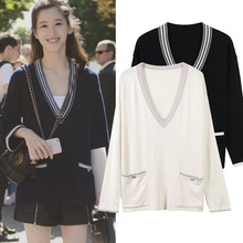 New deep V collar loose sleeves all-match female casual sweaters(China)