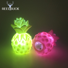 Led Colorful Pineapple Night Light Yellow Pink Green Silicone Lamp Eyes Protection Toy Gift High Bright Home Decor Nightlights