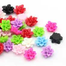 100PCs Flower Embellishment Findings Resin Cabochon Flatback DIY Jewelry Findings Fit Cabochon Base Settings Random Mixed 13x12m