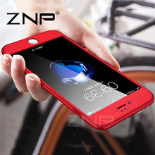 ZNP Luxury 360 Degree Protection Mobile Phone Cases For Apple iPhone 7 7 Plus 6 6s Case Capa Cover Glass cases for iPhone 7 case(China)