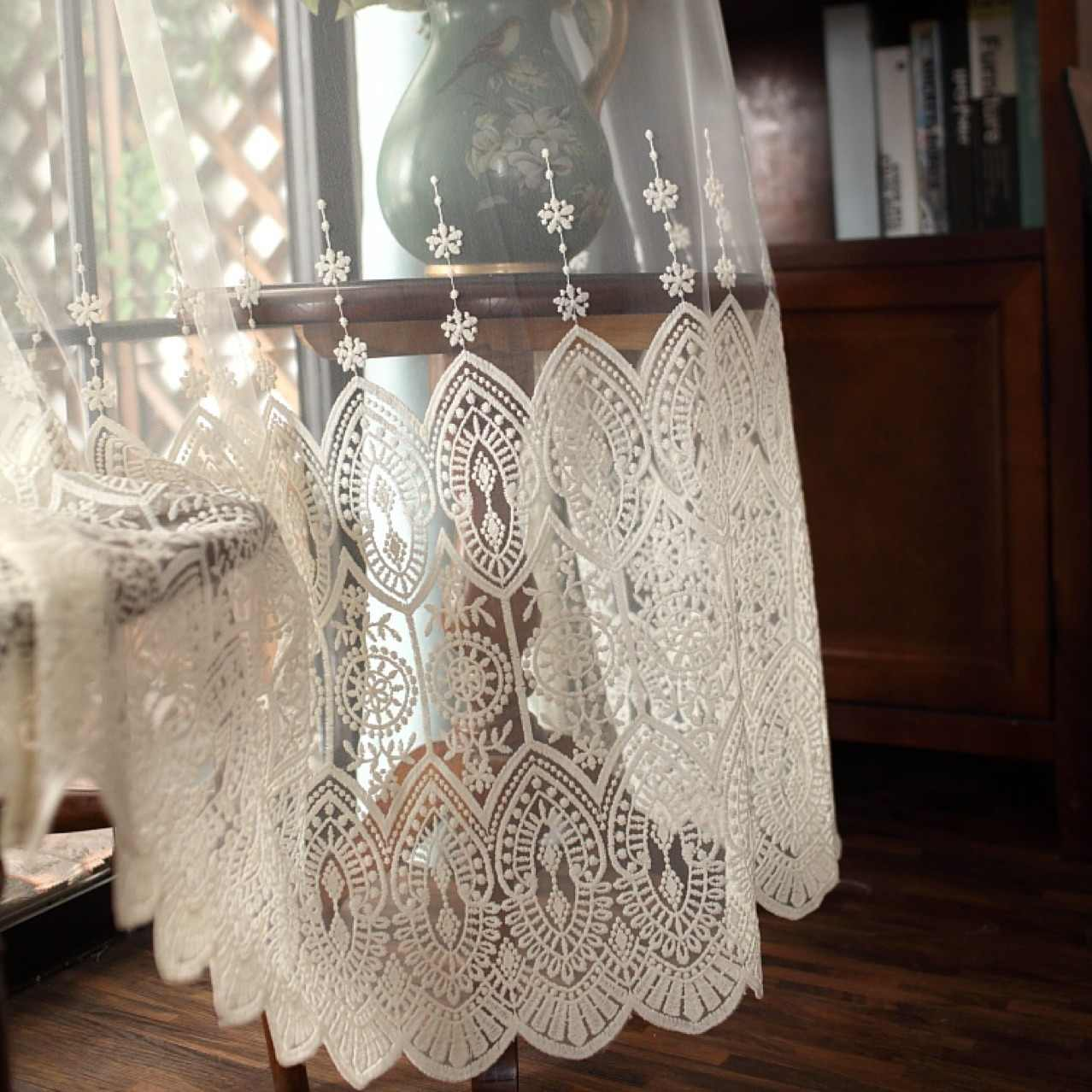 High grade Delicate Embroidery Tulle Curtains For Living Room Luxury Chinese Sheer Volie Window Curtain  Cortinados De Sala