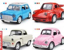 classic car beetle alloy sound light back to power model children's toy car