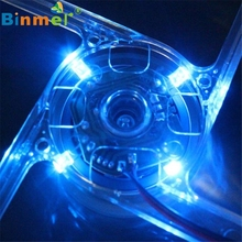 New Version Blue Quad 4-LED Light Neon Clear 140mm PC Computer Case Cooling Fan Mod Jun14