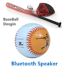 Sports Baseball real size Bluetooth Speaker audio player Mini Subwoofer 600mAh battery portable Roly Poly design TF card Line in