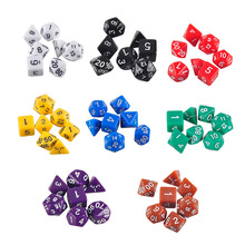 High Quality Outdoor KTV Fun 7pc/Set Sex Dice RPG Multi-Sided Dice with Marble Effect d4 d6 d8 d10 d10 d12 d20 Dice Game 8 Color