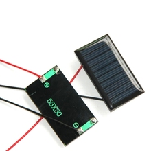 0.15w 5V Mini Solar Cell+Cable Polycrystalline Solar Panel/Module Diy Solar Charger For 3.7V 53*30*3MM Study Kits 10pcs/lot(China)