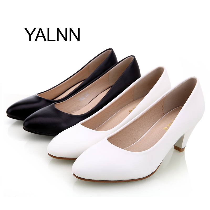 Women Shoes New Med Heel Round Toe Black Leather Shoes Classic White Pumps Shoes Office Ladies Shoes<br><br>Aliexpress