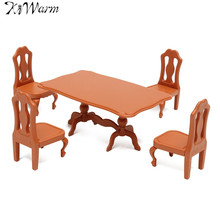 KiWarm 1 Set Plastic Dining Tables Chairs Miniature Dolls House Furniture Ornaments for Home Kids Room Decor Toy Dolls Gift