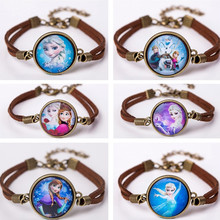 2017 Jewelry Fashion Women Glass Charm Bracelet Cute Cartoon Leather Bracelet Bangles Gift For Children
