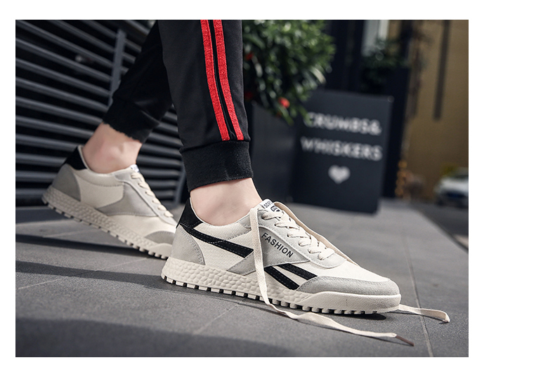 New Fashion Casual Flat Vulcanize Shoes For Men Breathable Lace-up Shoes Footwear Striped Shoes Flax And Cattle Cross Stitching 34 Online shopping Bangladesh