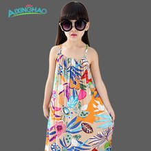 Aixinghao Summer Dresses For Girls Cotton Children Clothing Print Floral Beach Girl Dress Bohemian Kids Dresses Baby Clothes