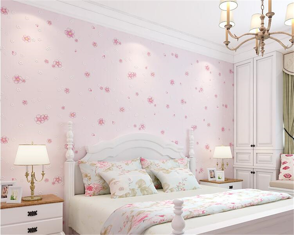 beibehang 3D clear 3d wallpaper pastoral warm non-woven bedroom room wedding room children room girl room wall paper TV behang <br>