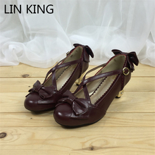 LIN KING Brand Retro Lady Pumps Solid Sweet Bowtie Buckle Lolita Shoes Fashion High Heel Platform Women Pump Cosplay Party Shoes