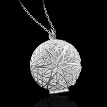sterling-silver-jewelry pendants Stamped 925 jewelry round hollow star mesh pendant chains necklace for women P167