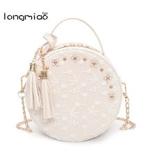 longmiao Sweet New Lace Round Handbags High Quality PU leather Women Crossbody Bags Female Small Fresh Flower Chain Shoulder Bag(China)