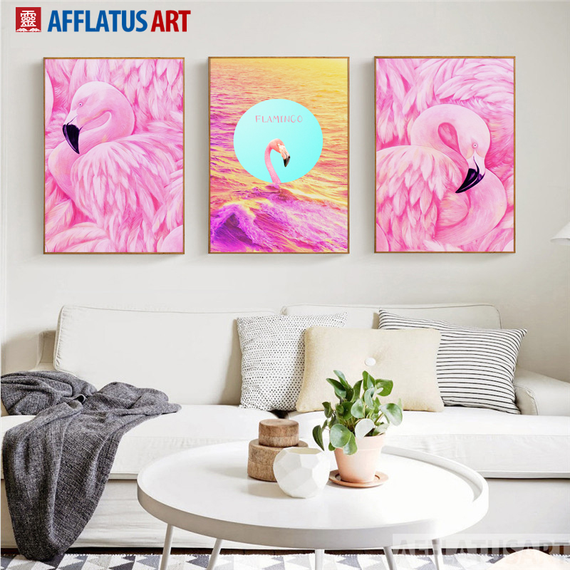 AFFLATUS Pink Flamingo Maid Dreamlike Decorative Romantic Painting ...