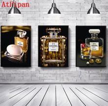AtFipan 3 Pcs Unframed Canvas Painting Famous Brand Perfume Printed On Canvas Wall Art Modular Oil Wall Pictures For Living Room(China)