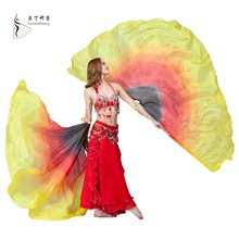 Dance Accessories 100% Silk Stage Performance Props Bellydance Wings Half Circle Belly Dance Veils (2 Pieces)(China)
