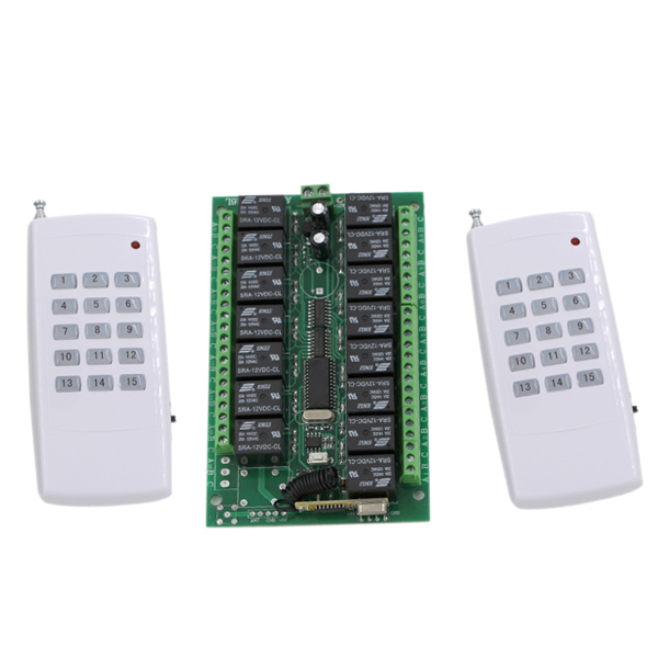 Hot Sale DC 24V 15CH RF Wireless Remote Control Switch System 2 X Transmitter + Receiver 315/433MHZ Momentary Latched Toggle<br>