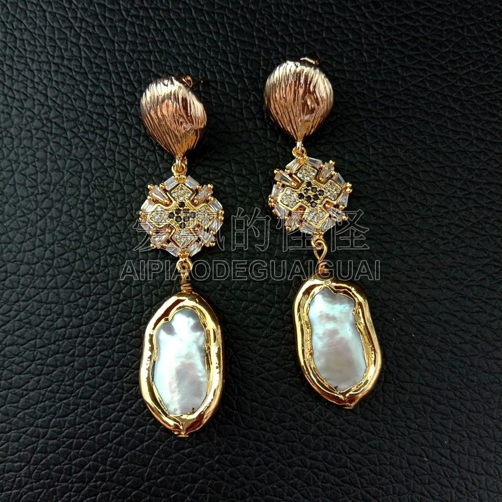 E092604 White Biwa Pearl 24K Golden Plated Cz Pave Earrings
