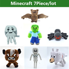 7pcs/lot Minecraft Toys Minecraft Creeper Cartoon Game Plush Toys Minecraft Skeleton Wolf Steve Cow Ghost Spider Bat Baby Toys