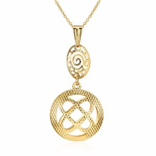 New Collection Women Jewelry Hollow Round Shape Design Drop Pendant Style Plating Gold Copper Necklace