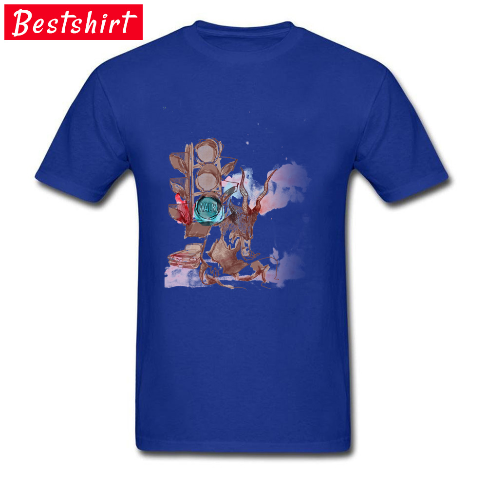 Antilope Girl in the Street Casual Tops Tees Short Sleeve for Men 100% Cotton Fabric Crewneck T Shirts Normal Top T-shirts Funky Antilope Girl in the Street blue