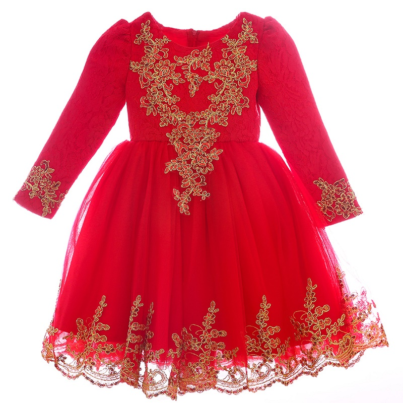 Autumn winter 2017 Girl Kids Party Sequins Lace Dress For Baby Girl Gown Birthday Outfits embroidery Children Wedding Dresses <br>