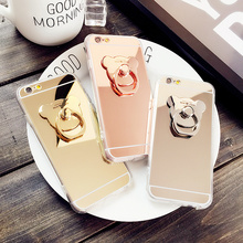 For iPhone 5s 4s Case Fundas Ring Mirror Soft luxurious Metal Ring Bear Girly Coque Cover For iPhone 6s 7 Plus Cases