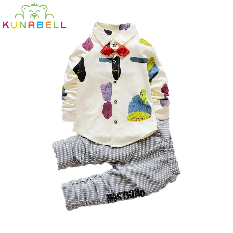 2016 Fashion Kids Suits Bow Tie Printed Foral Shirt + Striped Pants Baby Boy Tracksuit Cotton Casual Children Clothing 2pcs L163<br><br>Aliexpress