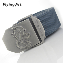 Flying Art king cobra automatic buckle belt For man High quality 4mm thick 3.8cm wide canvas belts Men jeans tactical belt