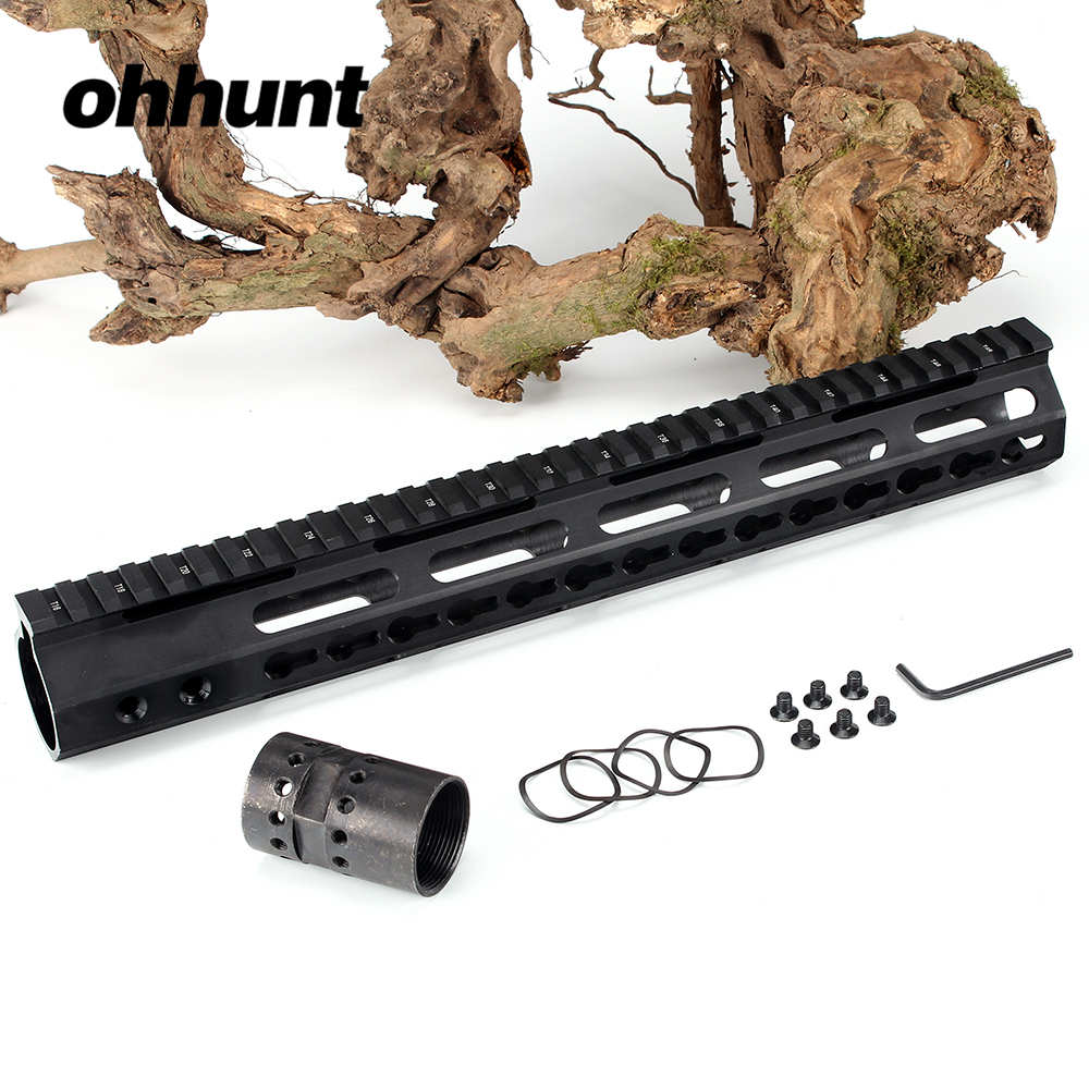 ohhunt Slim Style AR15 Free Float More Thicker Keymod Handguard Picatinny Rail with Steel Barrel Nut for Scope Mount<br>
